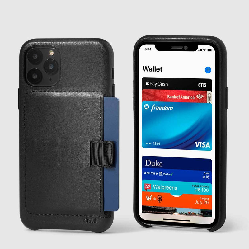 back and front view of wally wallet case for iPhone 11 Pro in black leather