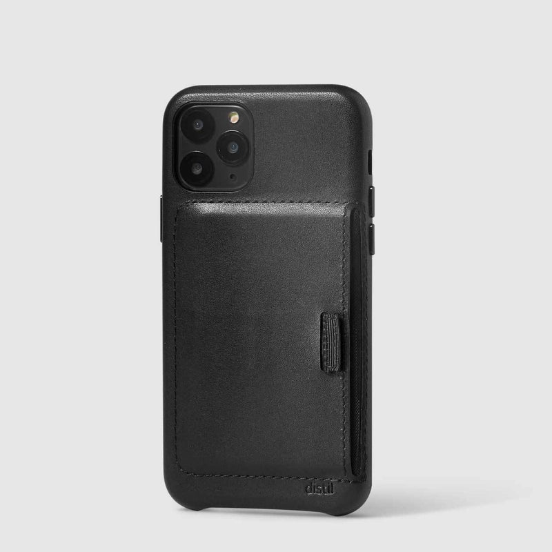 wally wallet case for iPhone 11 Pro in black leather carries 3 cards