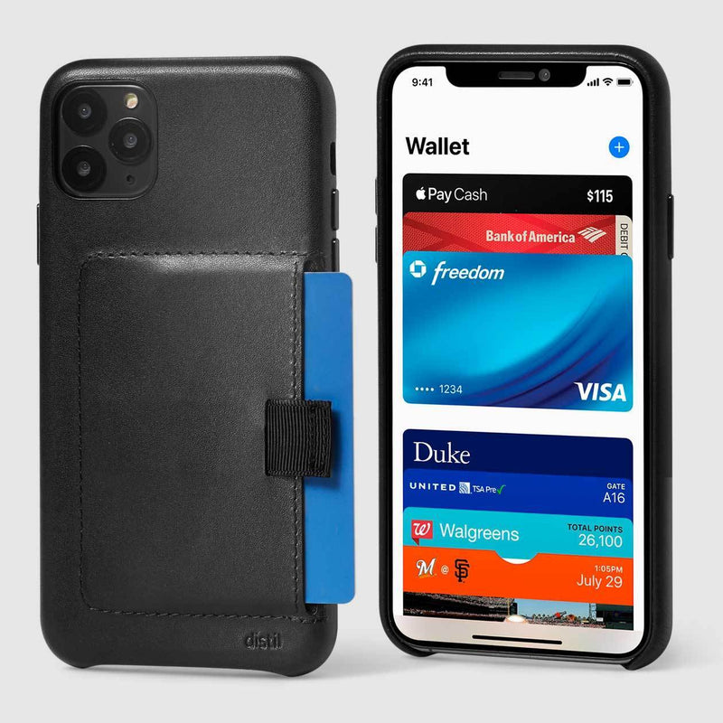 back and front view of wally wallet case for iPhone 11 Pro Max in black leather