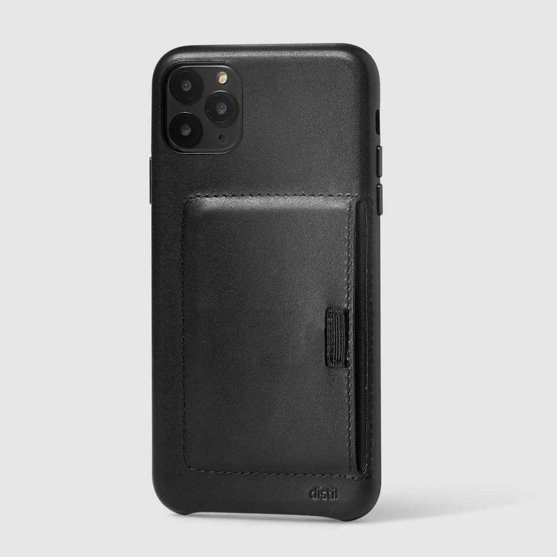 wally wallet case for iPhone 11 Pro Max in black leather carries 3 cards