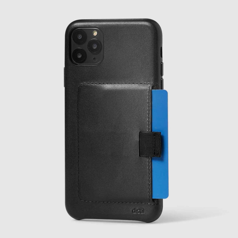 wally wallet case for iPhone 11 Pro Max in black leather showing protruding blue card