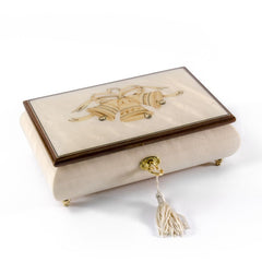 3 wedding bells with ribbon wood inlay ivory 18 note musical jewelry box