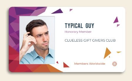 picture of membership card to the Clueless Gift Giver's Club