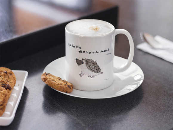 By Him All Things Were Created Hedgehog Mug - Lasting Impressions Shop