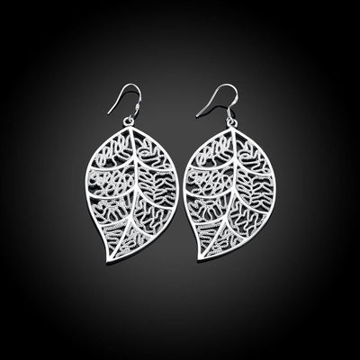 White Gold Filigree Leaf Earrings - Lasting Impressions Shop