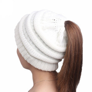 Women's Knit Slouchy Beanies with Ponytail Hole - Lasting Impressions Shop