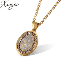 Load image into Gallery viewer, XINYAO 2017 Crystal Jesus Piece Pendant Necklace For Men Women Stainless Steel Gold Coin Chain Necklace Christian Jewelry F8008