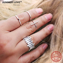 Load image into Gallery viewer, Authentic .925 Sterling Silver Faith CrossJewelry Rings For Women  Adjustable Size