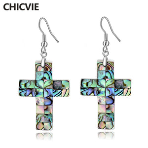 CHICVIE Retro Style Abalone Shell Faith Cross Jesus Earrings For Women Luxury Simple Handmade Christian Jewelry Earring SER17050
