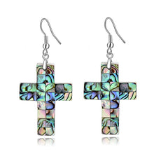Load image into Gallery viewer, CHICVIE Retro Style Abalone Shell Faith Cross Jesus Earrings For Women Luxury Simple Handmade Christian Jewelry Earring SER17050