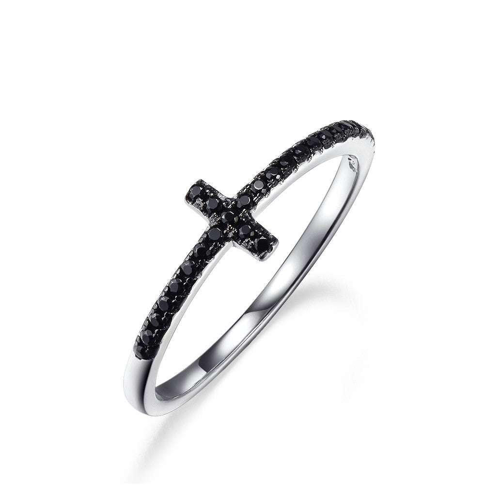 Christian Religion Jesus Cross Ring 925 Sterling Silver Jewelry