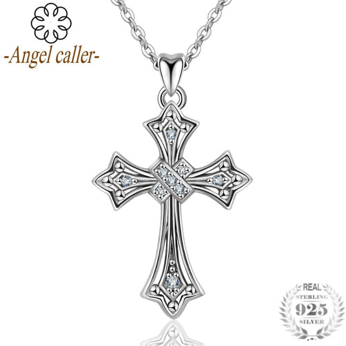 Angel Caller 925 Sterling Silver Crystal Faith In Heart Cross  Pendant Necklaces for Women Authentic Silver Fine Jewelry Gift