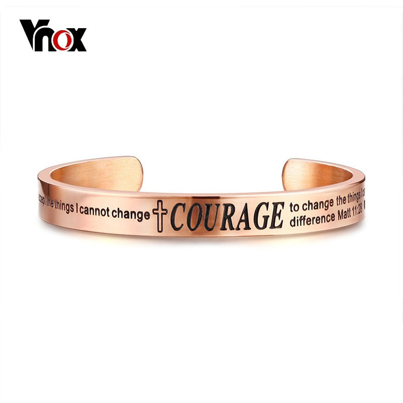 Vnox Christian Bible Quote Bangle for Women Men Serenity Courage Wisdom Adjustable Cuff Bracelet Wristband Elegant Jewelry