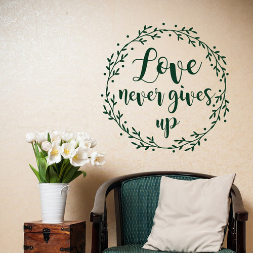 Scripture Christian Wall Decals Love Never Gives Up Vinyl Wall Sticker Bible Verse Removable Wall Decal for Home Decor