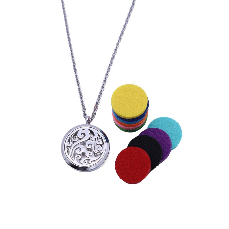 Essential Oil Diffuser Necklace Aromatherapy Diffuser Locket Pendant Set with 10 Color Refill Pads and Chain (Silver)