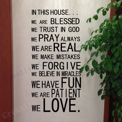 Free shipping God wall stickers christian wall art  home decor , God blessed prayer wall decals house rule ,large size 125x56cm