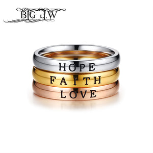 BIG J.W 3 Color Option HOPE FAITH LOVE Rings For Women Girls Simple Silver Color Stainless Steel Ring Fine Jewelry Party Rings