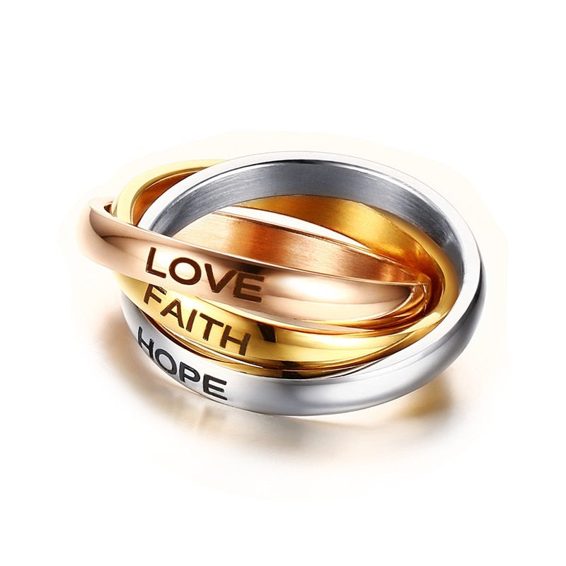 Beauty Women Rings 3MM Stainless Steel Tri color Triple Interlocked Rolling Ring Wedding Band Laser LOVE HOPE FAITH Jewelry