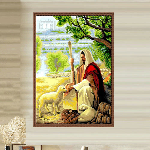 Glymg Diy Diamond Painting Cross Stitch Jesus' sheep Diamond Embroidery Full Drill Round Diamond Christian Home Decor Picture