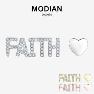 Modian Real 925 Sterling Silver Trendy FAITH Letter Heart Stud Earrings Fashion Rose Gold Color Crystal Jewelry For Women Gift