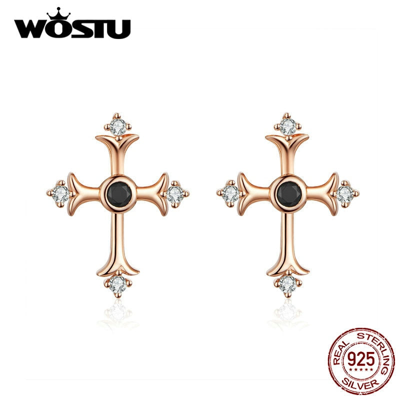WOSTU Faith Cross Rose Gold Stud Earrings 925 Sterling Silver Zircon Small Earrings For Women Wedding Fashion Jewelry CQE613