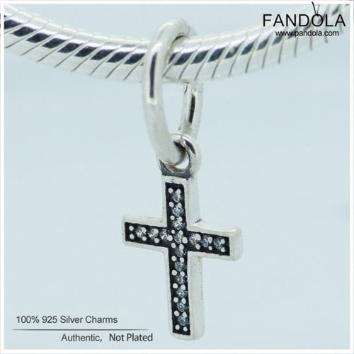 Authentic 925 Sterling Silver Symbol of Faith,  Cross Dangle Charm Beads for Jewelry Making, Fits European Charms Bracelet
