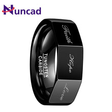 Load image into Gallery viewer, Nuncad 8MM Men's Cool Polished Black Tungsten Carbide Ring Polyhedron Party Jewelry Gift Rings With 3D Lettering Faith,Hope,Love