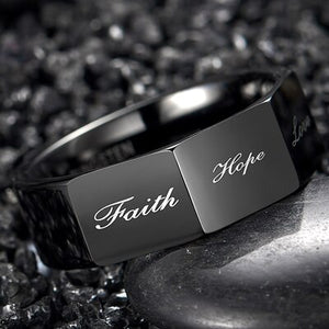 Nuncad 8MM Men's Cool Polished Black Tungsten Carbide Ring Polyhedron Party Jewelry Gift Rings With 3D Lettering Faith,Hope,Love