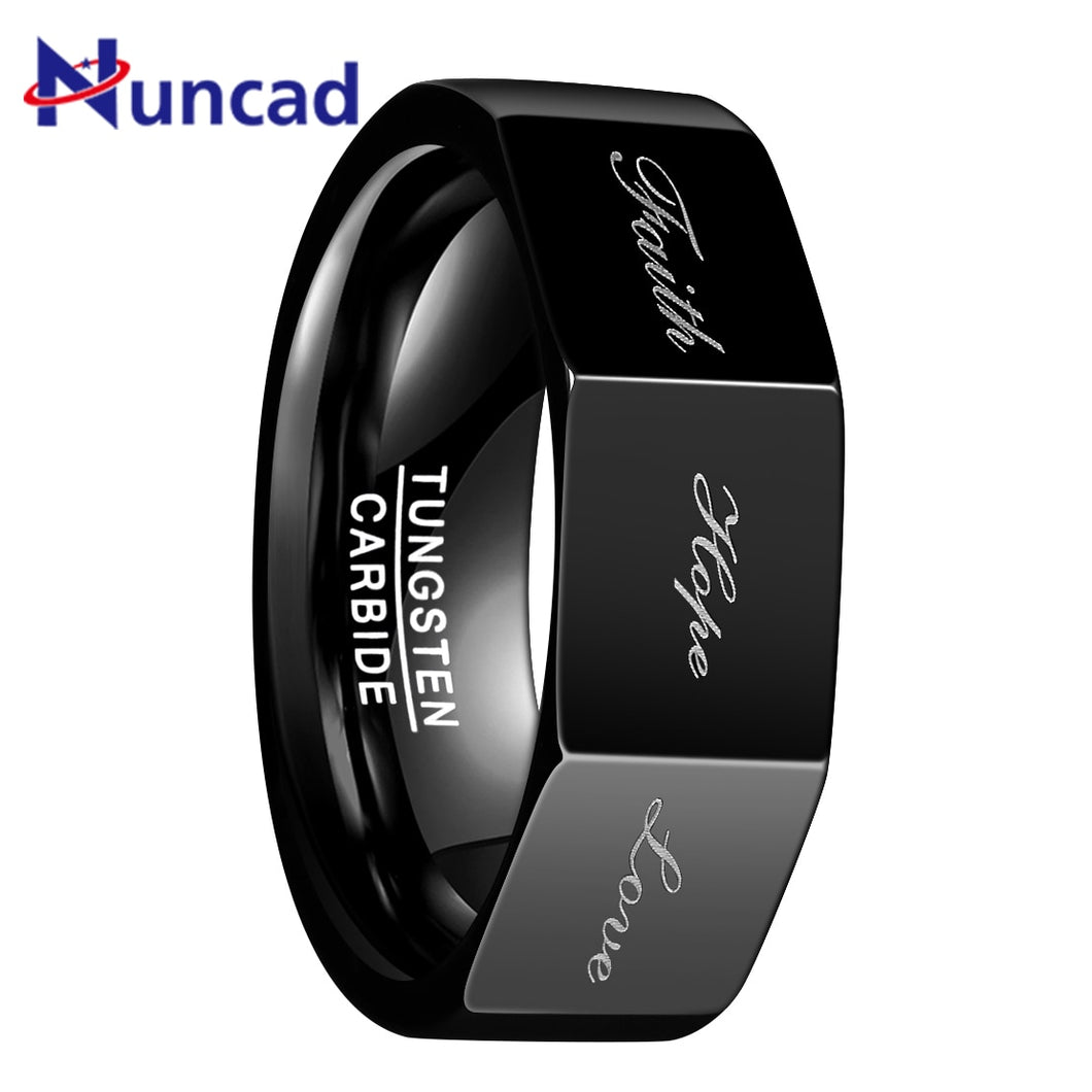Black Color 8MM Wide Polished  3D Geometric Lettering Faith Hope Love Tungsten Steel Ring Men Carbide Party Rings Jewelry