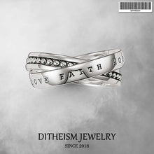 Load image into Gallery viewer, Faith Hope Love Wedding Bands Rings, 2018 New 925 Sterling Silver Fashion Jewelry Trendy Gift For Women and Men