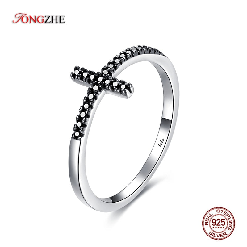 TONGZHE Popular 925 Sterling Silver Faith Cross Shape Finger Rings for Women Black Clear CZ Stackable Ring Jewelry Gift