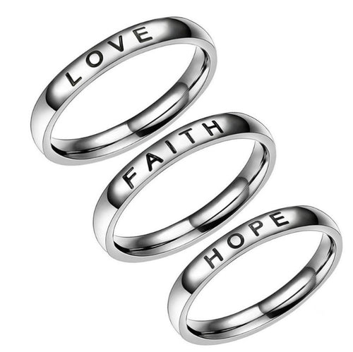 LOVE/FAITH/HOPE Unisex Ring Titanium Steel Couple Ring Creative Alphabet Jewelry Hot Simple High Polishing Wedding Band Ring