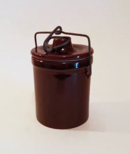 Glazed Stoneware Jar with Wire & Bail Lid