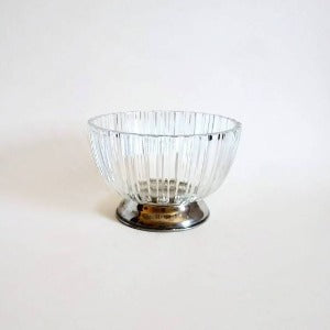 Italian Glass Bowl on Silverplated Pedestal
