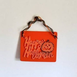 Happy Halloween Plaque  Festive Wooden Decor
