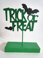 Trick or Treat Table Top Sign  Festive Wooden Decor