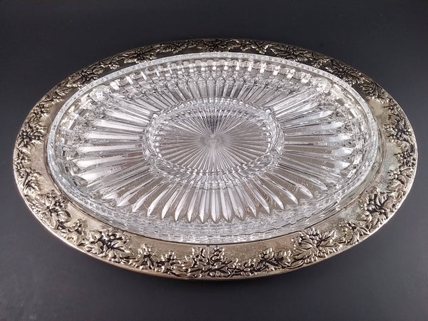 Silver Plated Oval Serving Platter with Grape Clusters  Godinger Silver  Free Shipping!!