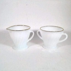 Anchor Hocking Sugar and Creamer Set  with Gold Rim   Golden Anniversary