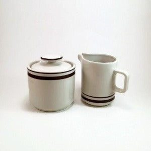 Orbit Stoneware Cream and Sugar Set, Sango 221