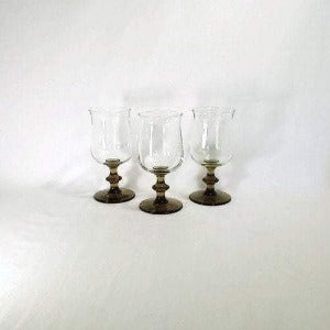 Libbey Smoked Glass Wine Goblets, Set of 3