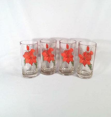 Poinsettia Christmas Glasses, Set of 4