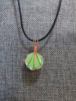 Wire Wrapped Pendant Necklace, Neon Green