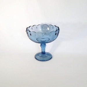 Indiana Glass Compote, Teardrop Blue Garland