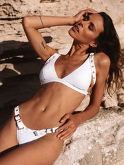 white bikini bottom with belted straps for a trendy bikini look