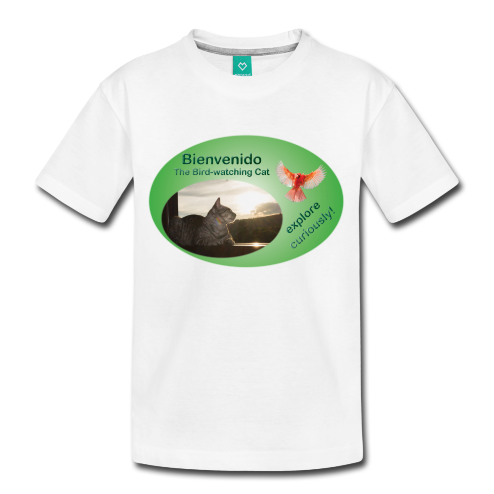 Bienvenido the Bird-watching Cat t-shirt (kids) - white