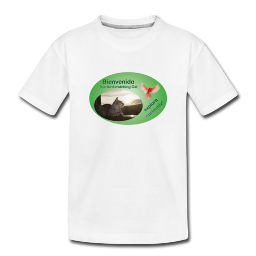 Bienvenido the Bird-watching Cat T-shirt (toddlers) - white