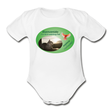 Load image into Gallery viewer, Bienvenido the Bird-watching Cat Body Suit (babies) - white