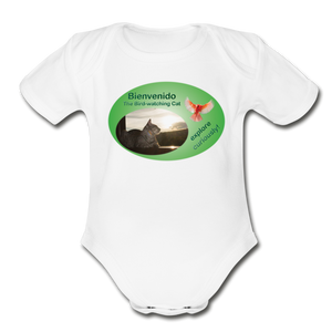Bienvenido the Bird-watching Cat Body Suit (babies) - white