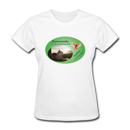 Bienvenido the Bird-watching Cat T-shirt (women) - white