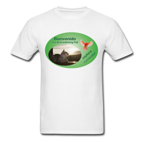 Bienvenido the Bird-watching Cat T-shirt (men) - white